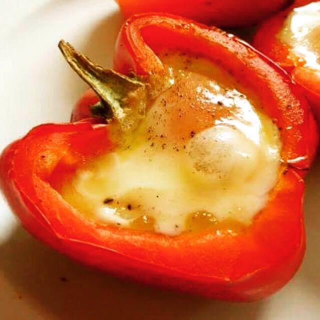 red pepper with a buble