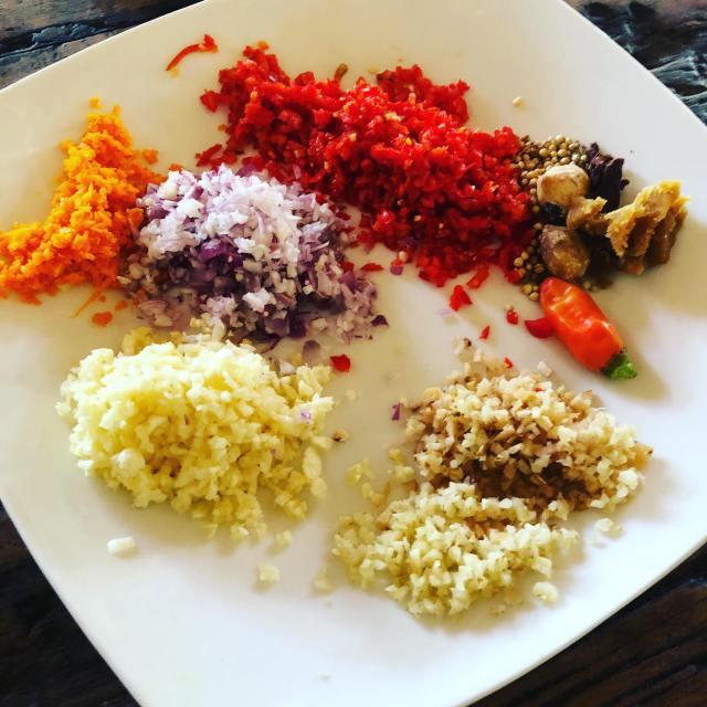 sate raw ingredients cut