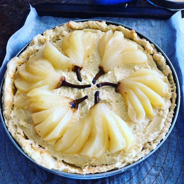 pear tart with the pears in