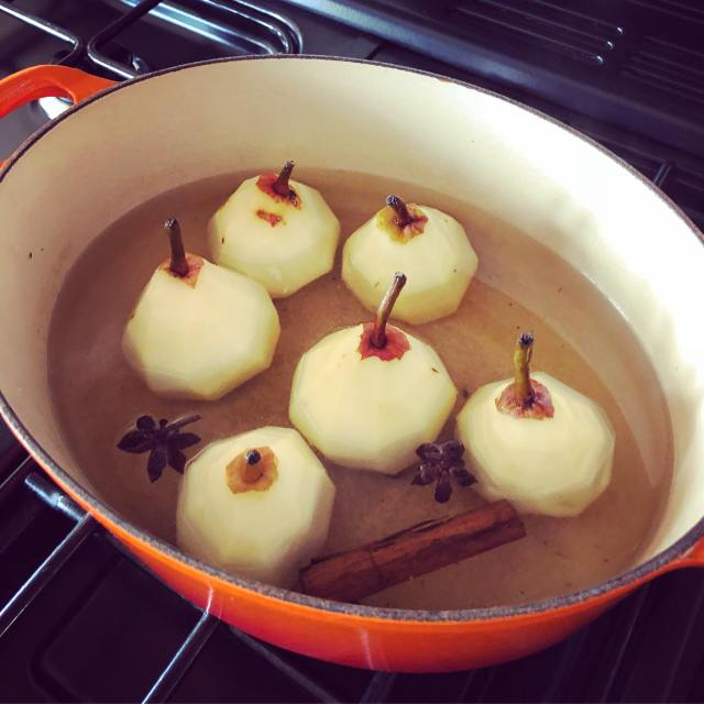 pears cooking in a pan